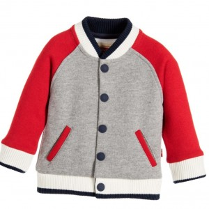 LEVI'S Baby Boys Grey & Red 'Ted' Sweatshirt Varsity Jacket