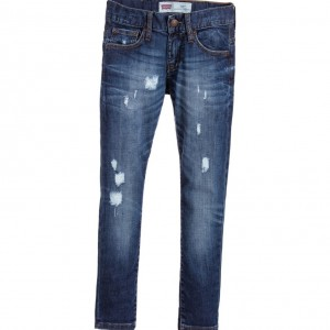 LEVI'S Boys Blue '520' Extreme Taper Fit Distressed Jeans
