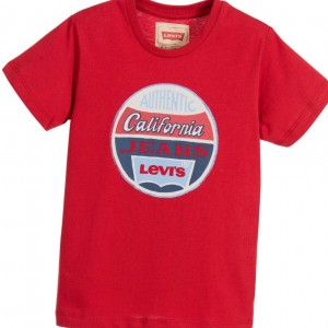LEVI'S Boys Red Cotton T-Shirt with Logo