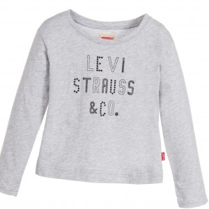 LEVI'S Girls Grey Cotton 'Alejan' T-Shirt with Studs