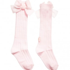 LILI GAUFRETTE Girls Long Pink Ribbed Cotton Socks with Bows