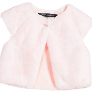 LILI GAUFRETTE Girls Pale Pink Synthetic Fur Gilet