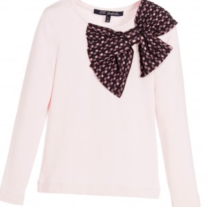 LILI GAUFRETTE Girls Pink Modal Top with Purple Jacquard Bow