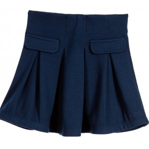 LILI GAUFRETTE Navy Blue Viscose Jersey Skirt with Pleats