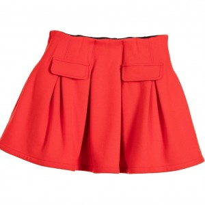 LILI GAUFRETTE Red Viscose Jersey Skirt with Pleats