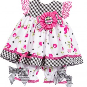 LITTLE DARLINGS Baby Girls Cherry Dress & Bloomers Set