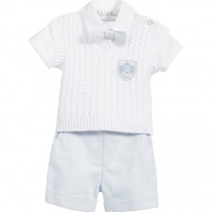 LITTLE DARLINGS Boys White & Pale Blue 4 Piece Shorts Set