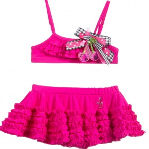 LITTLE DARLINGS Girls Fuchsia Pink Ruffle Bikini