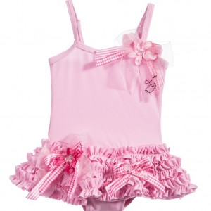 LITTLE DARLINGS Girls Pink 'Princess' Swimsuit with Ruffles