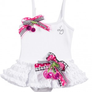 LITTLE DARLINGS Girls White 'Cherries' Swimsuit with Ruffles
