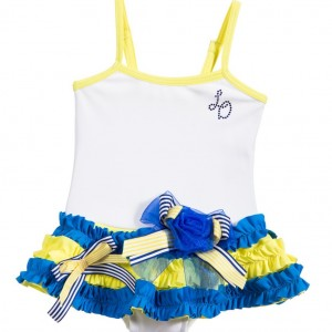 LITTLE DARLINGS Girls White Swimsuit with Blue & Yellow Ruffles