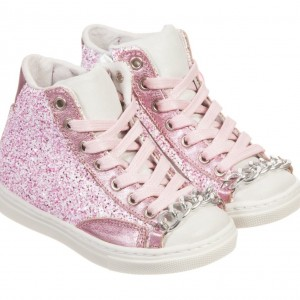 LITTLE DARLINGS Glitter Pink Leather Hi-Top Trainers
