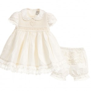 LITTLE DARLINGS OCCASION Baby Girls Hand-Smocked 'Amelia' Ivory Silk 2 Piece Set