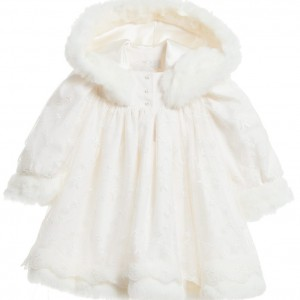 LITTLE DARLINGS OCCASION Baby Girls Ivory 'Angel' Dress with Fur Trims