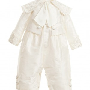 LITTLE DARLINGS OCCASION Boys Ivory Silk 'Montgomery' Baby Suit