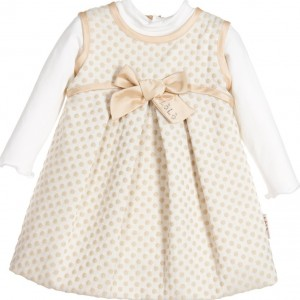 LOREDANA Baby Girls Beige Dotty Pinafore Dress 2 Piece Set