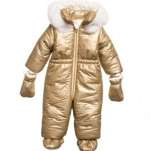 LOREDANA Baby Girls Gold Snowsuit with Fur Trim