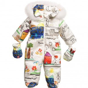 LOREDANA Baby Girls 'Mamma' Drawing Snowsuit with Fur