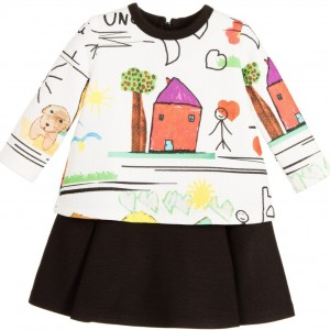 LOREDANA Baby Girls White & Black 'Mama Drawing' Dress