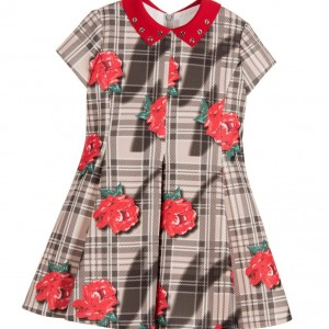 LOREDANA Beige Tartan Check & Red Rose Neoprene Dress