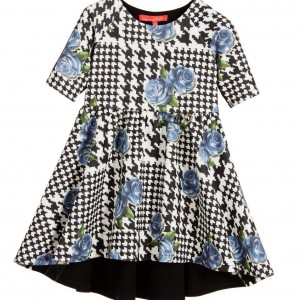 LOREDANA Girls Black & White Dress with Blue Roses