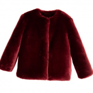 LOREDANA Girls Burgundy Synthetic Fur Jacket