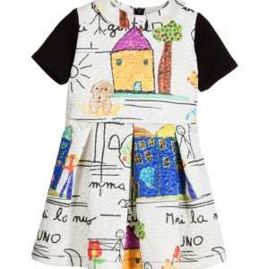 LOREDANA Girls Ivory & Black Drawing Dress
