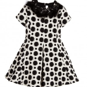 LOREDANA LE BELLISSIME Girls Ivory And Black Dots Jacquard Dress