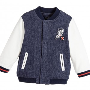 MAYORAL Baby Boys Blue & Ivory Varsity Jacket