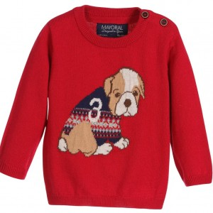 MAYORAL Baby Boys Red Knitted Puppy Print Sweater