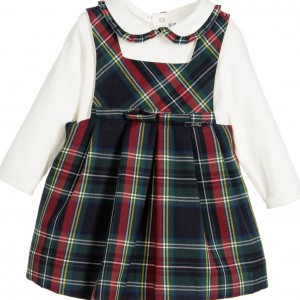 MAYORAL CHIC Baby Girls Green Tartan Pinafore Dress & Blouse Set