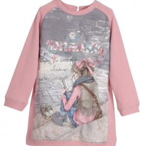 MAYORAL Dusty Pink Sweater Dress with Dreams Print