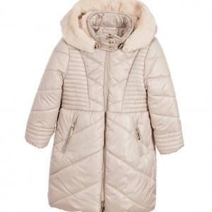 MAYORAL Girls Beige Hooded Padded Coat