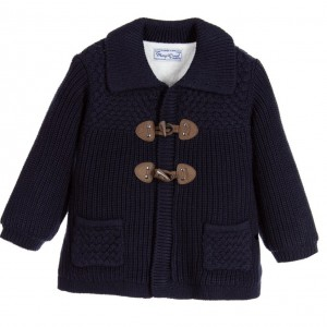 MAYORAL NEWBORN Baby Boys Navy Blue Knitted Duffle Cardigan