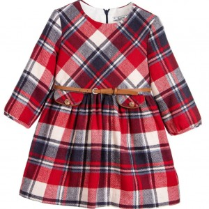 MAYORAL Red Check Dress with Belt