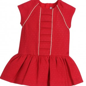 MAYORAL Red Honeycomb Cotton Dress with Gold Trim