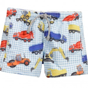 MC2 ST BARTH Boys Blue Truck Print Swim Shorts