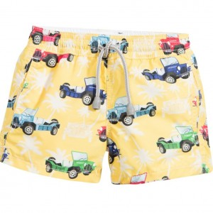 MC2 ST BARTH Boys Yellow Car Print Swim Shorts