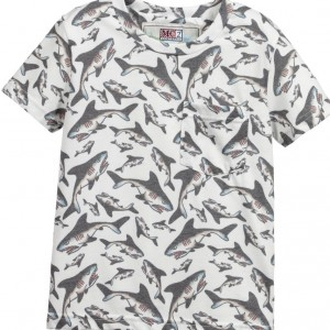 MC2 ST BARTH White Shark Print Jersey Top