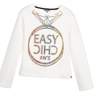 MISS GRANT Girls White Cotton Jersey Sweatshirt