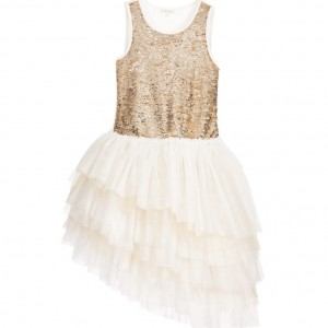 MISS GRANT Gold Sequin Dress with Tulle Skirt