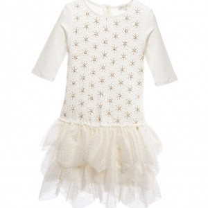 MISS GRANT Ivory Dress with Gold Stars & Tulle Skirt
