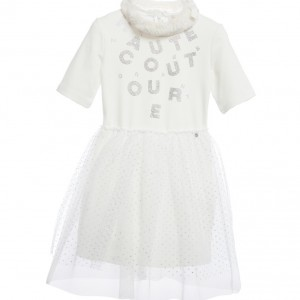 MISS GRANT Ivory Dress with Synthetic Fur Collar