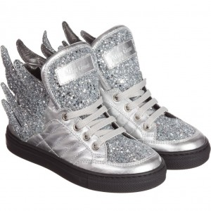 MISS GRANT Silver Glittery High-Top Trainers with Wings
