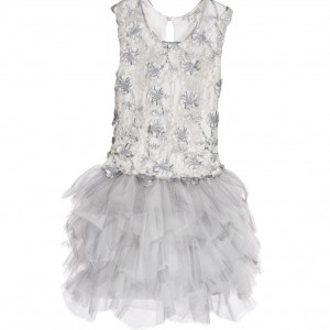MISS GRANT Silver Lace Dress with Tulle