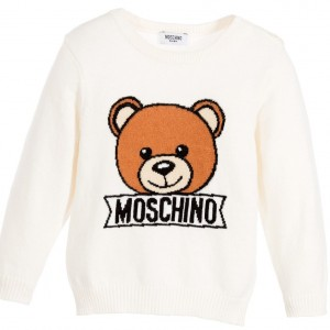 MOSCHINO BABY Baby Boys Ivory Knitted Teddy Sweater