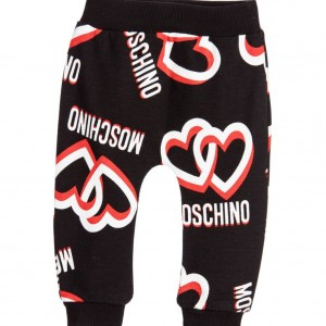 MOSCHINO BABY Baby Girls Black Leggings with Logo Heart Print