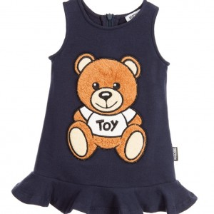 MOSCHINO BABY Baby Girls Navy Blue Cotton Jersey Dress with Furry Teddy