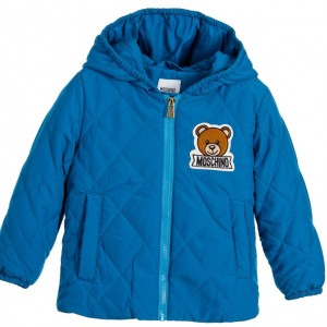 MOSCHINO BABY Blue Quilted Hooded Baby Jacket with Teddy