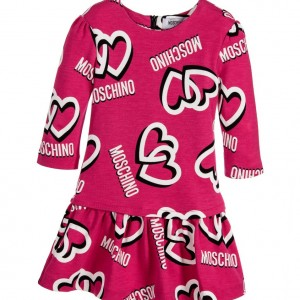 MOSCHINO Girls Pink Viscose Jersey Logo Dress with Hearts